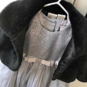 Silver Sequin Holiday Dress with Faux Fur Bolero